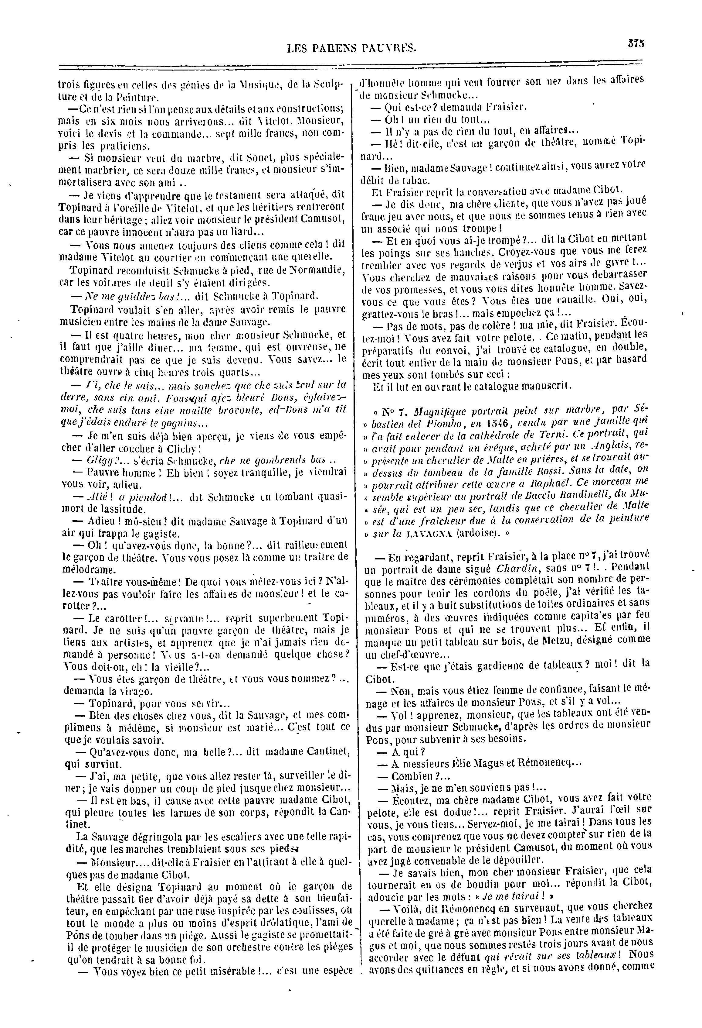 """85214579ef6096 Comparaison des versions Siècle (1847) et Furne (1848) de """"Le Cousin Pons""""  :: Phoebus"""